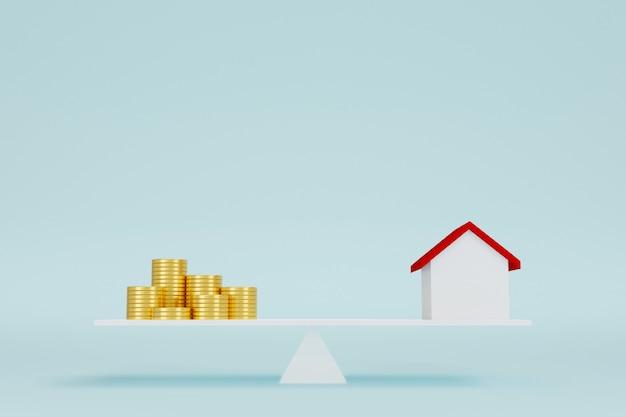 Dom i pieniądze stos monet na skali równowagi. inwestycja w nieruchomości i koncepcja finansowa nieruchomości hipotecznych domu. ilustracja 3d