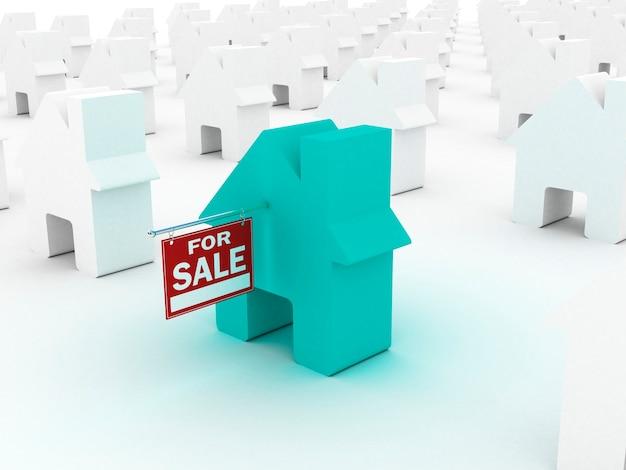 Dom kolorowy na sprzedaż, renderowanie 3d