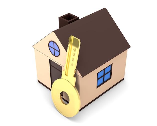 Dom Koncepcja Hipotecznych Z Złotym Kluczem Na Białym Tle Premium Zdjęcia