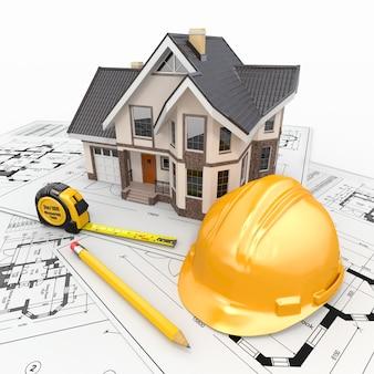 Dom mieszkalny z narzędziami na plany architekta.