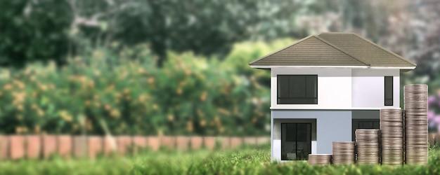 Dom model tam przestrzeń. koncepcja domu, mieszkania i nieruchomości