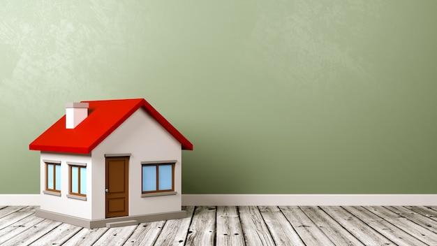 Dom na drewnianej podłodze przed ścianą