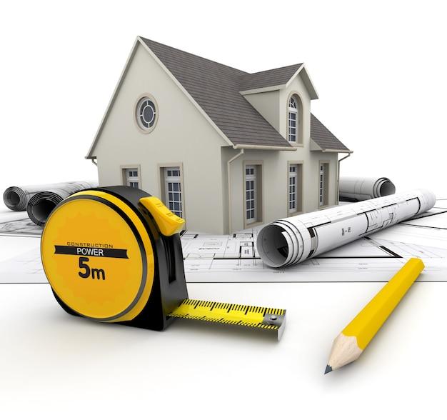 Dom na planach, ołówku i centymetrze