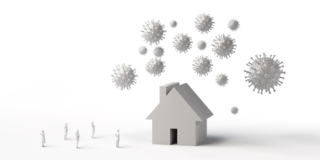 Dom otoczony wirusem z ludźmi oglądającymi nieruchomości zagrożone przez wirusy ilustracja 3d