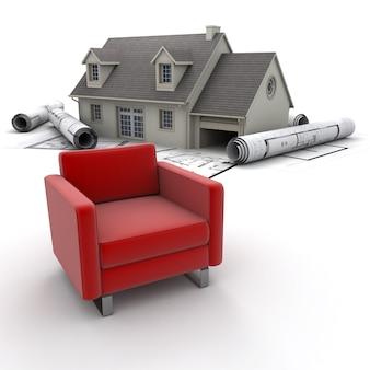 Dom, plany i kanapa
