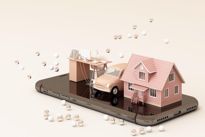 Dom, rocznik samochód i pracujący stół na telefonie w różowym brzmieniu barwią 3d rendering