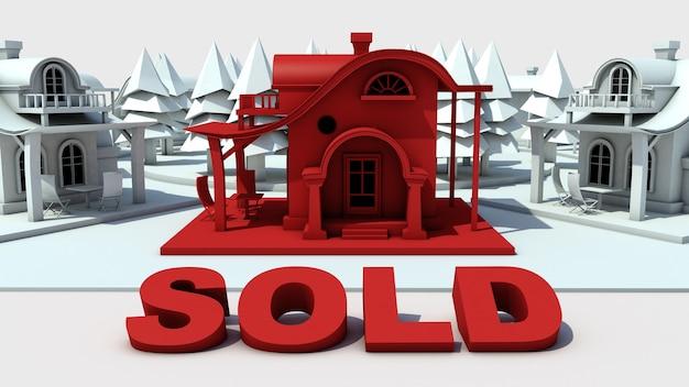 Dom sprzedawany w kolorze czerwonym różni się od reszty w kolorze białym koncepcja nieruchomości obraz 3d