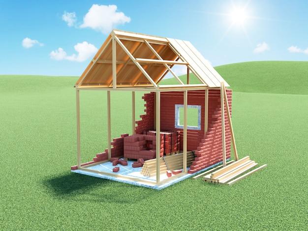 Dom w budowie na zielonej łące