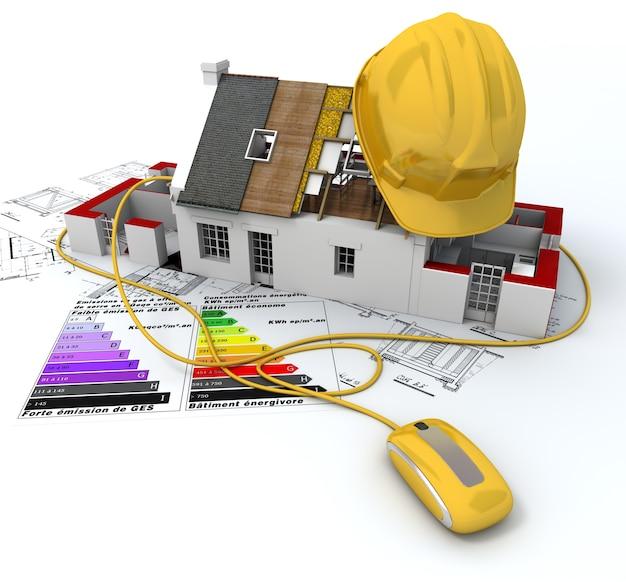 Dom w budowie, podłączony do myszy komputerowej,