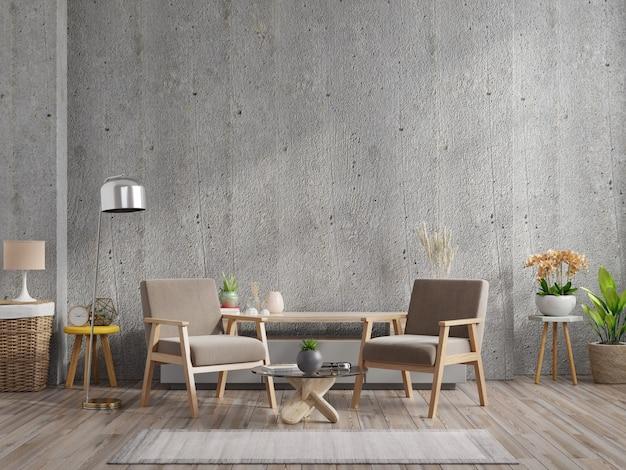 Dom w stylu loft z fotelem i akcesoriami w pokoju. renderowanie 3d