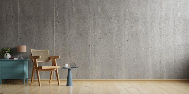 Dom w stylu loftu z fotelem i akcesoriami w pokoju. renderowanie 3d