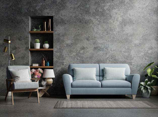 Dom w stylu loftu z fotelem, sofą i akcesoriami w pokoju. renderowanie 3d