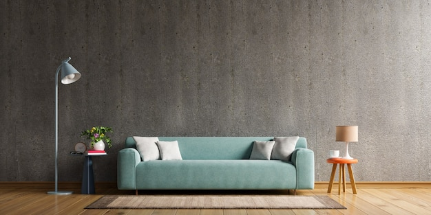 Dom w stylu loftu z sofą i akcesoriami w pokoju za betonową ścianą. renderowanie 3d