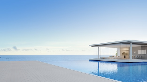 Dom wakacyjny lub hotel dla dużej rodziny z niebieskim niebem