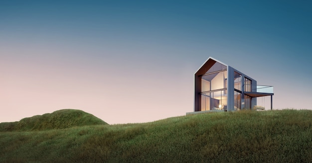 Dom wiejski na wzgórzu łąkowym