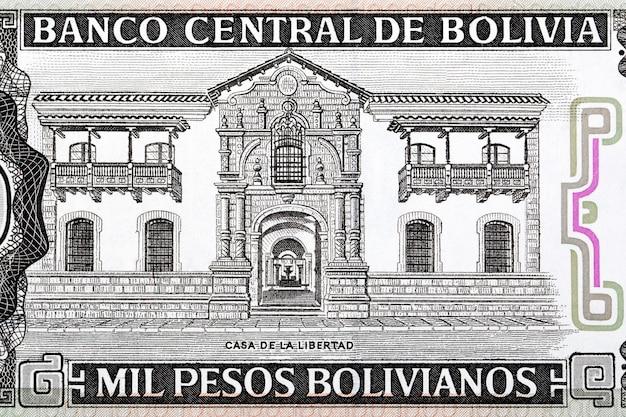 Dom wolności ze starych boliwijskich pieniędzy