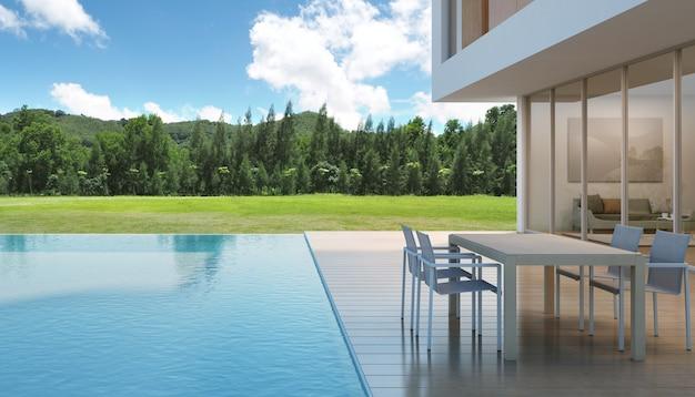 Dom z basenem w nowoczesnym stylu.