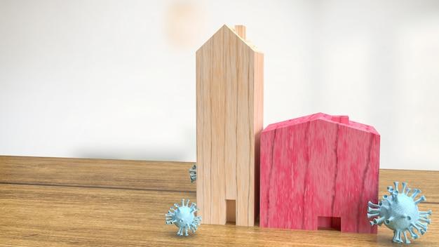 Dom z drewna i wirus do renderowania 3d koncepcji medycznej lub epidemii