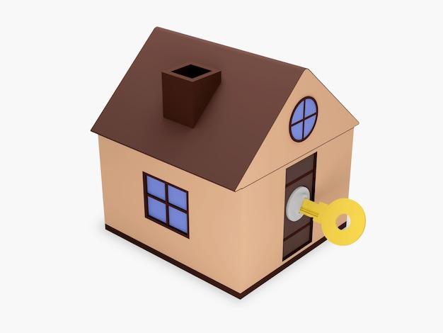 Dom z kluczem na białym tle
