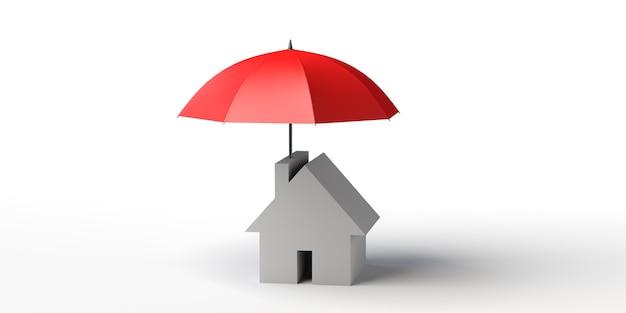 Dom z parasolem ochrona bezpieczeństwo pożyczka nieruchomość banner tło 3d ilustracja