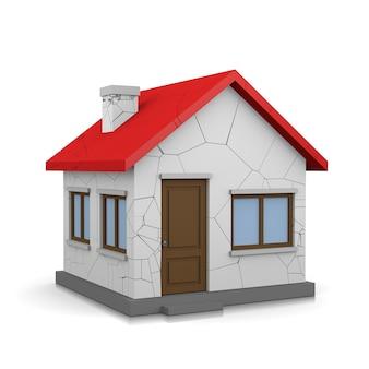 Dom z pęknięciami 3d ilustracja na białym tle