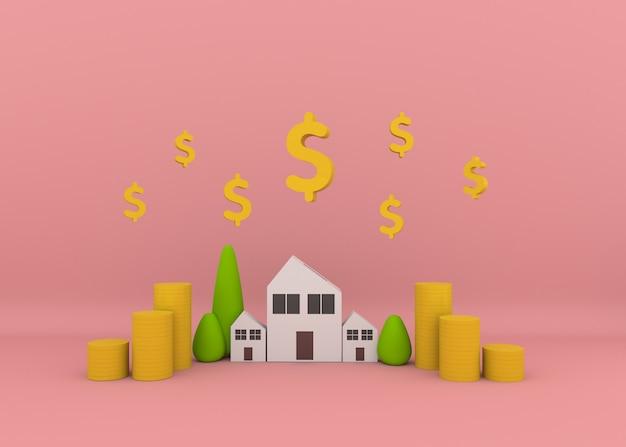 Dom z roślinami i stosami monet