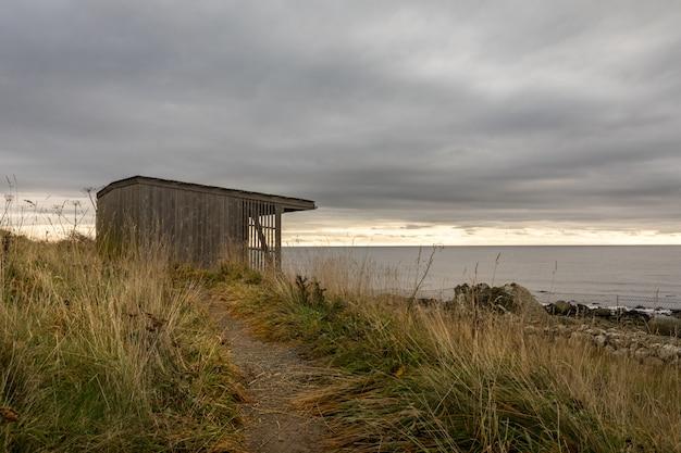 Domek do obserwacji ptaków nad morzem, w liście w norwegii