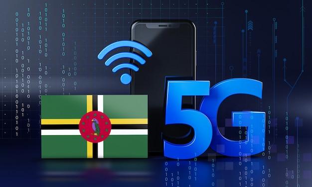 Dominika gotowa na koncepcję połączenia 5g. renderowania 3d technologia smartphone tło