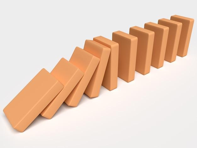 Domino. koncepcyjna ilustracja spadających cegieł, które popychają się nawzajem