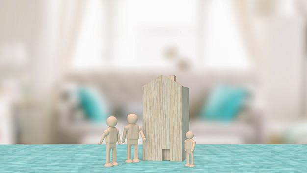 Domowa drewniana zabawka w salonie dla nieruchomości lub koncepcji budynku renderowania 3d