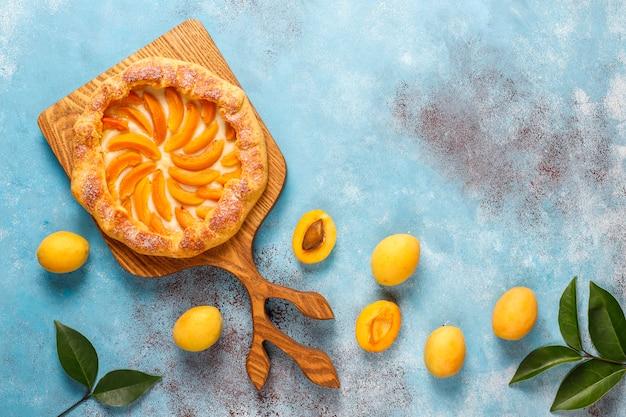 Domowa rustykalna galette z morelami i świeżymi organicznymi owocami moreli