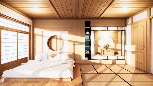 Domowa ściana ścienna makiety z drewnianym łóżkiem w sypialni minimalistyczny design. renderowanie 3d.