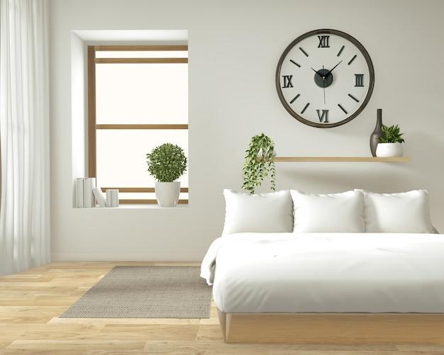 Domowa ściana wewnętrzna makieta z drewnianym łóżkiem, zasłonami i dekoracją w stylu japońskim w sypialni zen