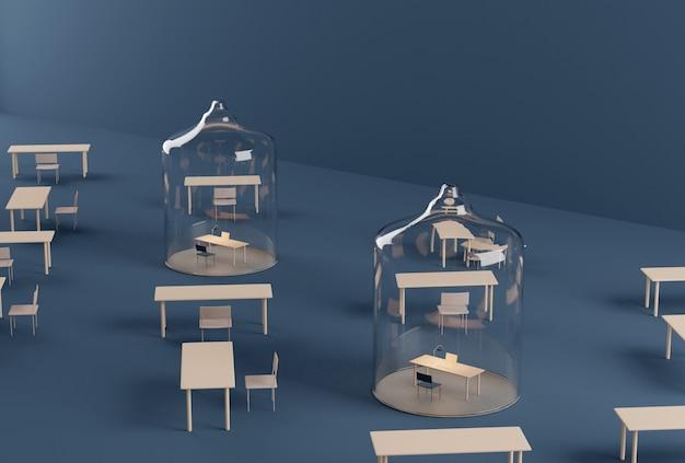 Domowe biuro pod szklaną kopułą. izolacja podczas kwarantanny pandemicznej covid-19. renderowania 3d. fizyczny