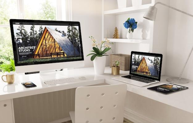 Domowe biuro utworzone z responsywną witryną internetową architec studio renderowania 3d