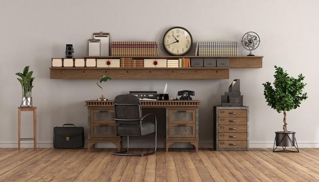 Domowe biuro w stylu retro ze starym biurkiem