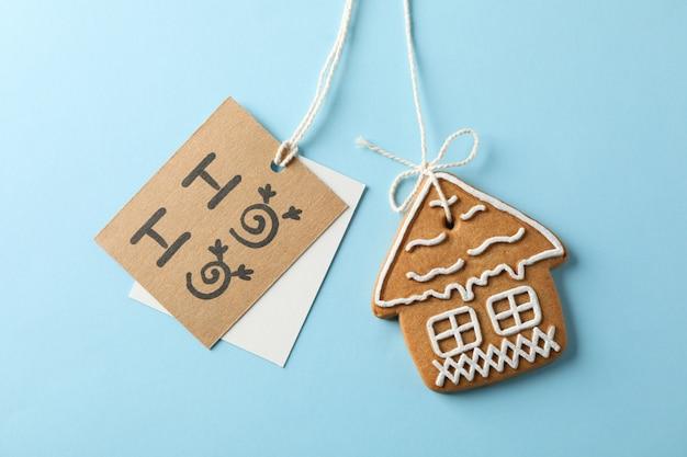 Domowe ciasteczka świąteczne, ho-ho na niebiesko, miejsca na tekst. zbliżenie