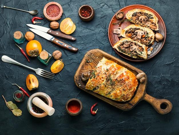 Domowe ciasto grzybowe z persimmonem.pieczarki wellington.pyszne ciasto