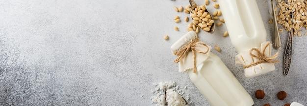 Domowe dietetyczne mleko roślinne i migdały, kręcone, orzechy laskowe, płatki owsiane, ryż i kokos na szarym tle. pojęcie zdrowej diety. widok z góry