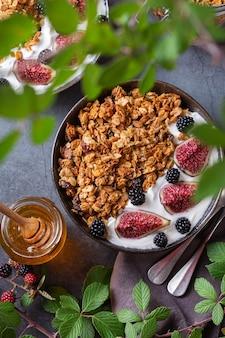 Domowe musli owsiane z jogurtem i jagodami na śniadanie