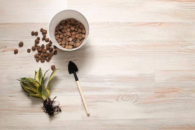 Domowe narzędzia do przeszczepu roślin, ziemia, drenaż, grabie łopatowe, doniczka.