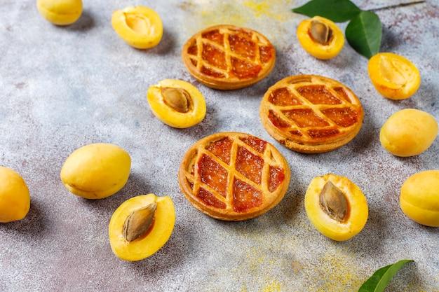 Domowe rustykalne mini ciasto morelowe lub tarty ze świeżymi owocami moreli.