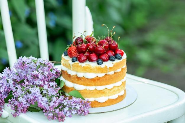 Domowej roboty lata ciastka tort z śmietanką i świeżymi jagodami w ogródzie
