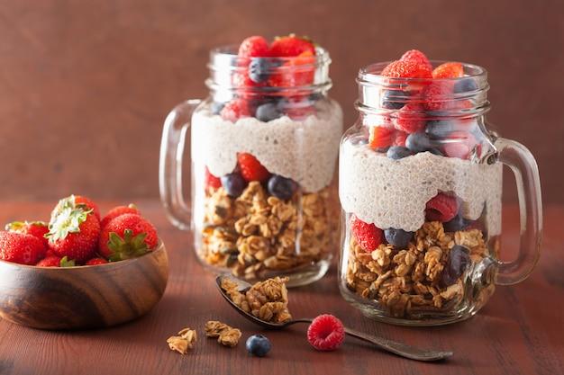 Domowy granola i budyń z nasion chia z jagodowym zdrowym śniadaniem