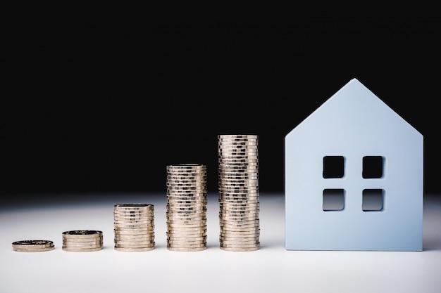 Domowy model i rząd menniczy pieniądze na białym stole