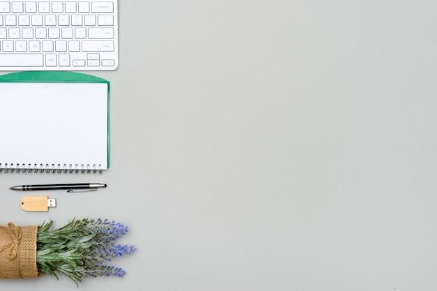 Domowy obszar roboczy z klawiaturą komputera, pustym schowkiem na papier i zieloną rośliną na szarej powierzchni