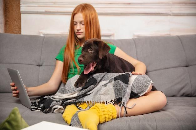 Domowy portret ślicznej dziewczynki przytulającej szczeniaka na sofie, przy użyciu nowoczesnych urządzeń, gadżetów i dobrej zabawy. miłość zwierzaka, kultura młodzieżowa, komfort w domu i koncepcja edukacji na odległość.