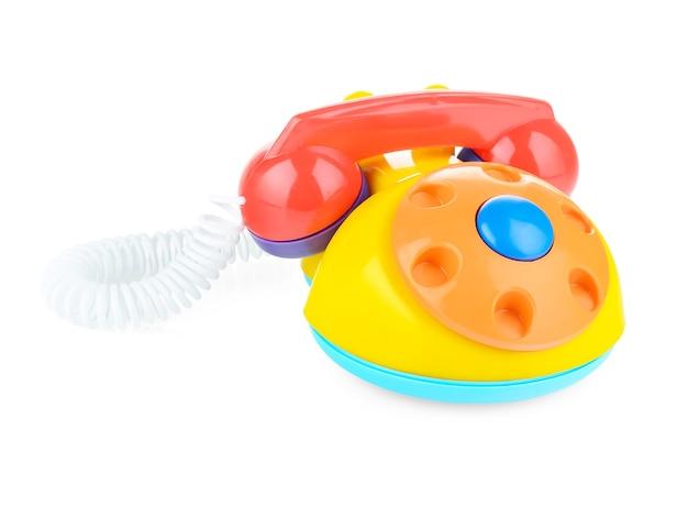 Domowy telefon dla dzieci z tworzywa sztucznego na białym tle