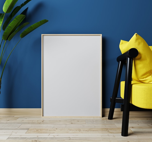 Domowy wewnętrzny egzamin próbny z żółtą kanapą i roślina w zielonym żywym pokoju, 3d rendering