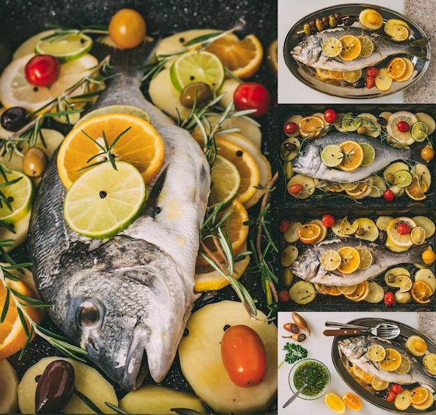 Dorada morska pieczenie ryb kolaż z ustawionych zdjęć